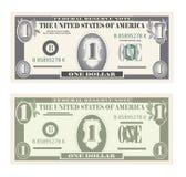 Money Set, Paper Banknotes One Dollar.