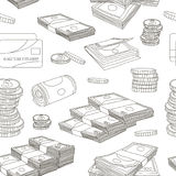 Money set pattern. On white background. Vector illustration, EPS 10 Vector Illustration