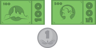 Money Set. Vector Illustrated Fictive Money Set Royalty Free Stock Photography