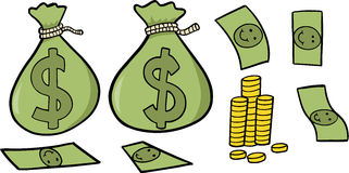 Money Set Vector Illustration. Cute Money Set Vector Illustration Stock Images