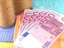 Money set with vintage white bottle Stock Image