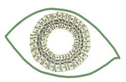 Money in a shape of eye Royalty Free Stock Photos