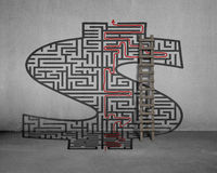 Money shape maze with solution on wall. Money shape maze with solution on concrete wall Stock Photography
