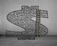 Money shape maze with wooden ladder Stock Photo