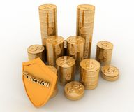 Money and shield. Protection of  finance. 3d render  illustration Stock Photography