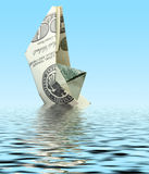 Money ship in water Stock Photo
