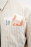 Money in the shirt pocket Stock Image