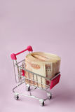 Money for shopping. A bundle of money in a cart Royalty Free Stock Photo