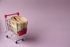 Money for shopping. A bundle of money in a cart Royalty Free Stock Photos