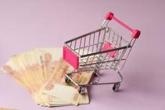 Money for shopping. A bundle of money in a cart Stock Photos