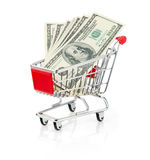 Money in Shopping Cart Stock Photo
