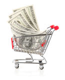 Money in Shopping Cart Stock Image
