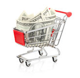 Money in Shopping Cart Stock Photos