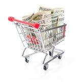 Money in Shopping Cart Royalty Free Stock Photos