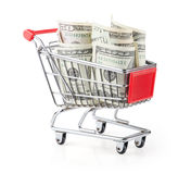 Money in Shopping Cart Royalty Free Stock Photography