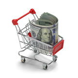 Money Shopping Cart Stock Images