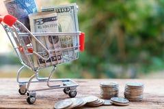 Money on shopping cart. Money savings concept. Copy space stock photography