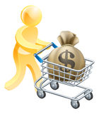 Money shopping cart trolley person Stock Photo