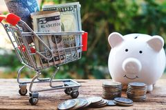 Money on shopping cart and white piggy bank. Saving money concept. Copy space stock photo