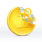 Money should work. Structure of gold coins, gears. Vector Stock Photography