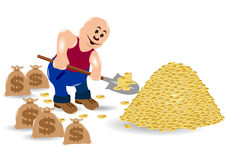 Money shovel man Stock Photo