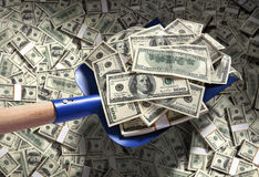 Money with shovel. Studio photography of American moneys of hundred dollar stock image