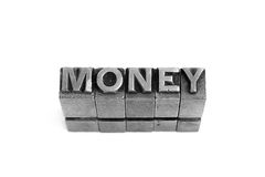 Money sign, antique metal letter type Stock Photography