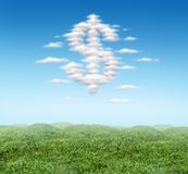 Money sign cloud with blue sky. Floating Money sign dollar symbol cloud with blue sky stock photo