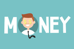 Money sign concept. Young successful business man icon. / Editable flat vector illustration Royalty Free Stock Photos