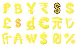Money sign icon set, cartoon style. Money sign icon set. Cartoon set of money sign vector icons for web design isolated on white background Royalty Free Stock Photo