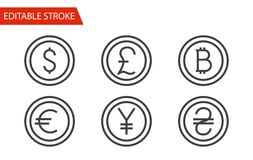 Money Sign Icons Set. Thin Line Vector Illustration. Adjust stroke weight - Expand to any Size - Easy Change Colour - Editable Stroke - Pixel Perfect Stock Photo