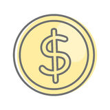 Money Sign Isolated. Dollar Coin. Video Marketing. Approaches, methods and measures to promote products and services based on video. Online video, internet Royalty Free Stock Photography