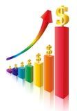Money sign multicolor bar diagram. Finance stat - money sign multicolor bar diagram Royalty Free Stock Photo