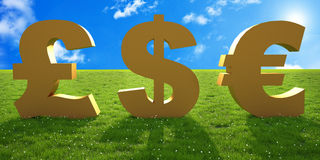 Money sign text on green grass Stock Image