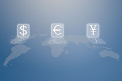 Money sign on world map Royalty Free Stock Images