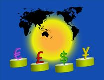 Money Signs. Computer Illustration. World map with money signs from different countries on display. Glowing yellow circle shines bright in center. Global economy Stock Image