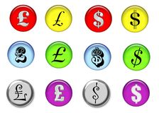 Money Signs. Glass Web buttons with money signs. The British pound and American dollar sign in a variety of styles Royalty Free Stock Photo