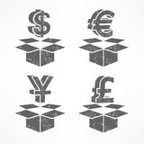 Money signs in boxes Stock Image