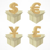 Money signs in boxes Royalty Free Stock Photo