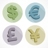 Money signs. Money color signs dollar, euro, pond, yen, vector illustration Stock Photography