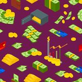 Money Signs Seamless Pattern Background Isometric View. Vector. Money Signs Seamless Pattern Background Isometric View Include of Coin, Dollar Stack, Graph Stock Photo