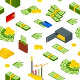 Money Signs Seamless Pattern Background Isometric View. Vector. Money Signs Seamless Pattern Background on a White Isometric View Include of Coin, Dollar Stack Royalty Free Stock Images