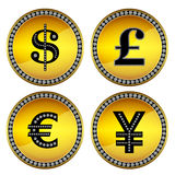 Money signs. Set of four money symbols such as dollar, pound sterling, euro and yen on golden round background with diamonds Stock Photography