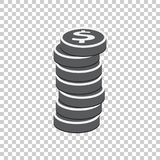 Money silhouette icon on isolated background. Coins vector illus Stock Images