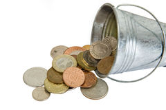 Money in silver backet Stock Photography