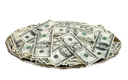 Money on silver platter. Hand money on silver platter. Dollar bills on tray isolated on white with clipping path Royalty Free Stock Photography