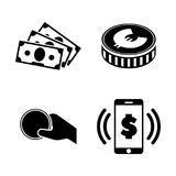 Money. Simple Related Vector Icons. Set for Video, Mobile Apps, Web Sites, Print Projects and Your Design. Black Flat Illustration on White Background Stock Photo
