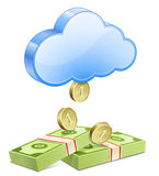 Money from the sky. Affiliate marketing concept. Making money from the cloud Stock Image