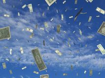 Money sky. Illustrated money falling over a photo of a blue sky Royalty Free Stock Photography