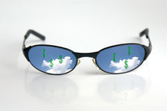 Money in the sky. Sunglasses with cash reflection royalty free stock photo